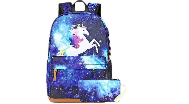 mochila con estuche de unicornio