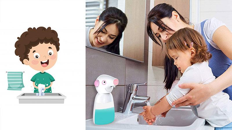 dispensador de gel para niños